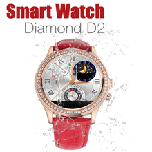 Hot NEW Waterproof Women Diamond Bluetooth Smart Watch D2 for IPhone and Android font b Smartwatch