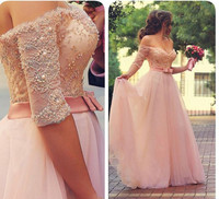 Charming Sweetheart Off The Shoulder Lace Beaded Elegant Long Pink Prom Dresses 2016 With Half Sleeves