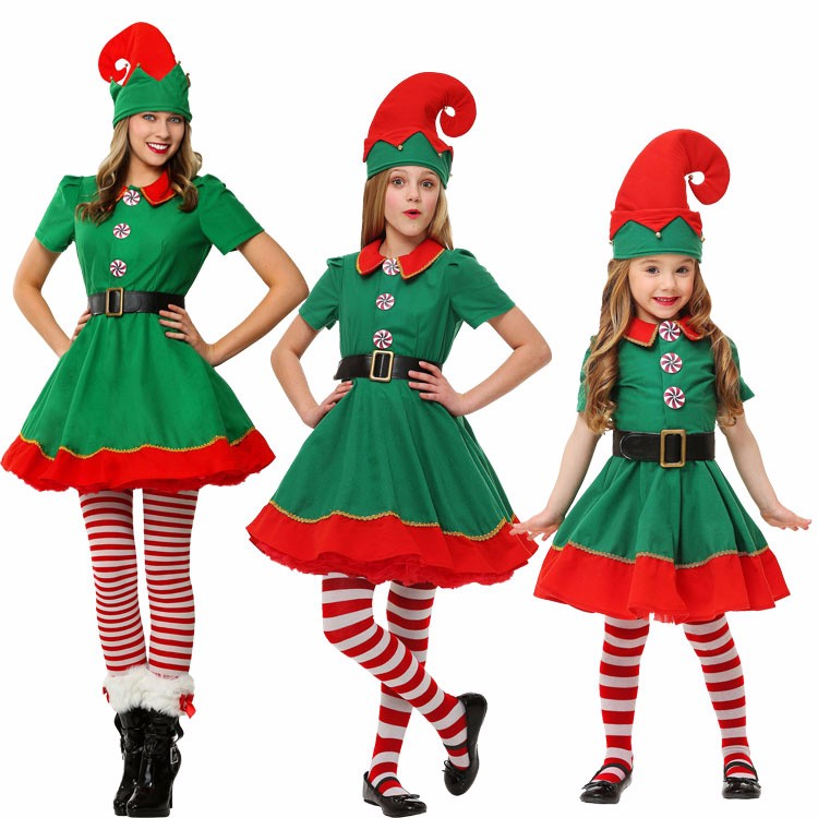 2017 christmas elves costumes Women Christmas Halloween Costume Long Sleeve Green and Red Girl Elf Dress KIDS Christmas Costume