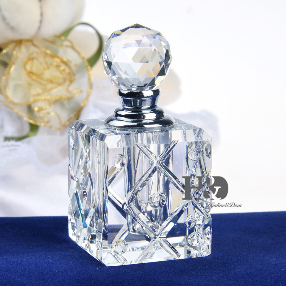Free Shipping Wholesale Vintage Clear Crystal Perfume Bottle Cutting Facets Glass Bottle Refillable Carry Gift