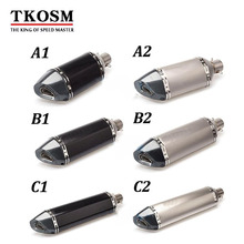 TKOSM Universal Motorcycle Modified Scooter with Sticker Exhaust Muffle pipe for GY6 CBR125 CBR250 CB400 CB600 YZF Z900 Z750