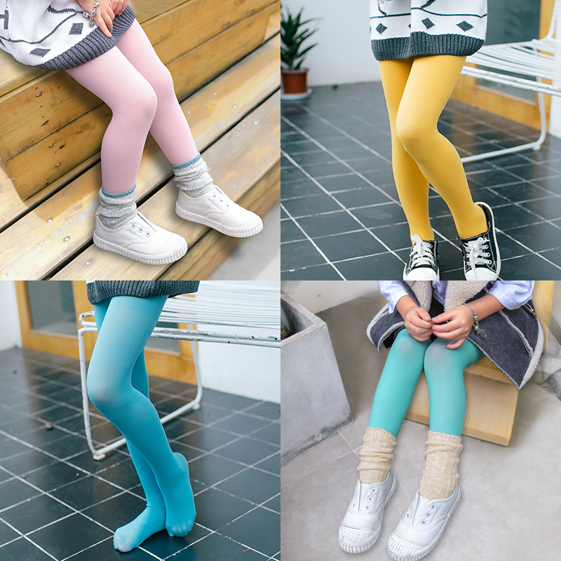 2016 Autumn 2-12y baby girls tights candy colors Children's dancing stocking pantyhose 15 colors Vertical weave C830