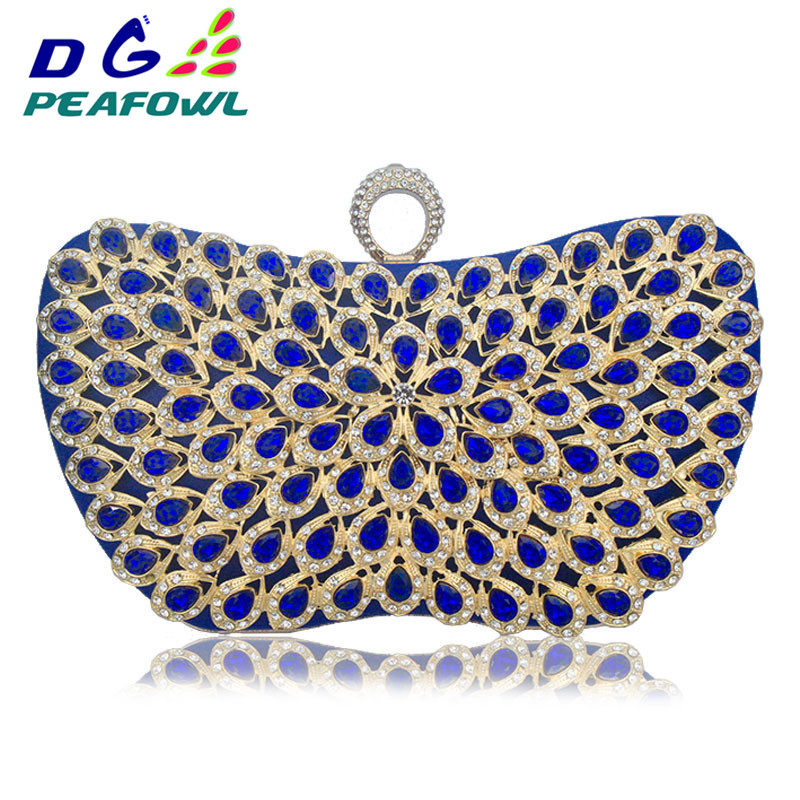 New Design Metallic Blue Diamonds Beaded Flower Handbags Girls Elegant Wedding Purses Evening Bags Ladies Day Clutches Party Bag