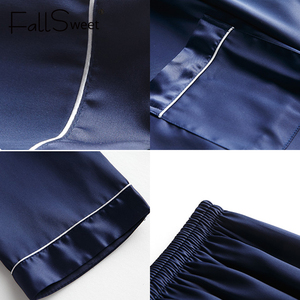 Image 5 - FallSweet Women Pajamas Sets  Silk Solid Sleepwear Pyjamas Plus Size V Neck Nigtwear Sets 5XL