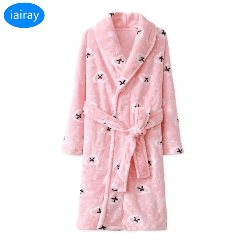 27cc56058c iAiRAY child flannel bathrobe children christmas pajamas for girls winter  warm sleepwear kids bath robe dressing gown nightgown