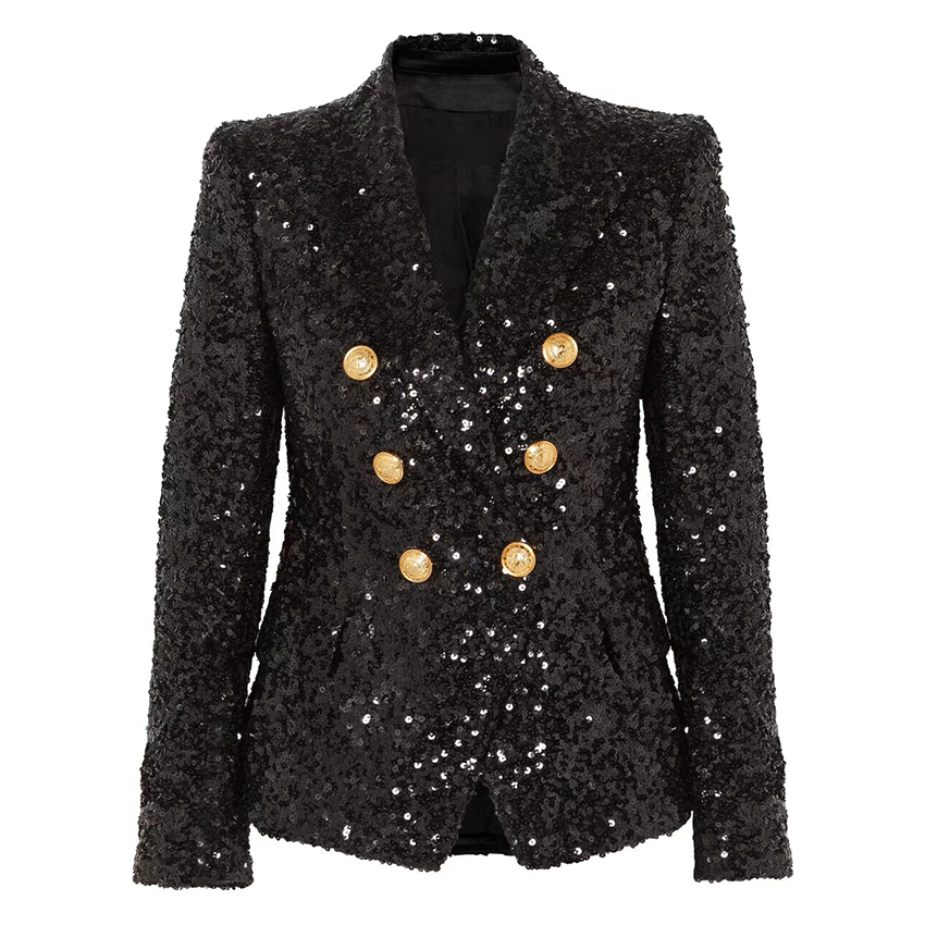 TOP QUALITY Newest Fashion 2020 Designer Stylish Blazer For Ladies Gold Metal Buttons Bling Sequined Blazer Jacket Outer Wear