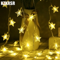KZKRSR Fairy Transparent Star 50m 400 LED AC 220V String Light Home Decoration For Christmas Garland New Year Party Holiday
