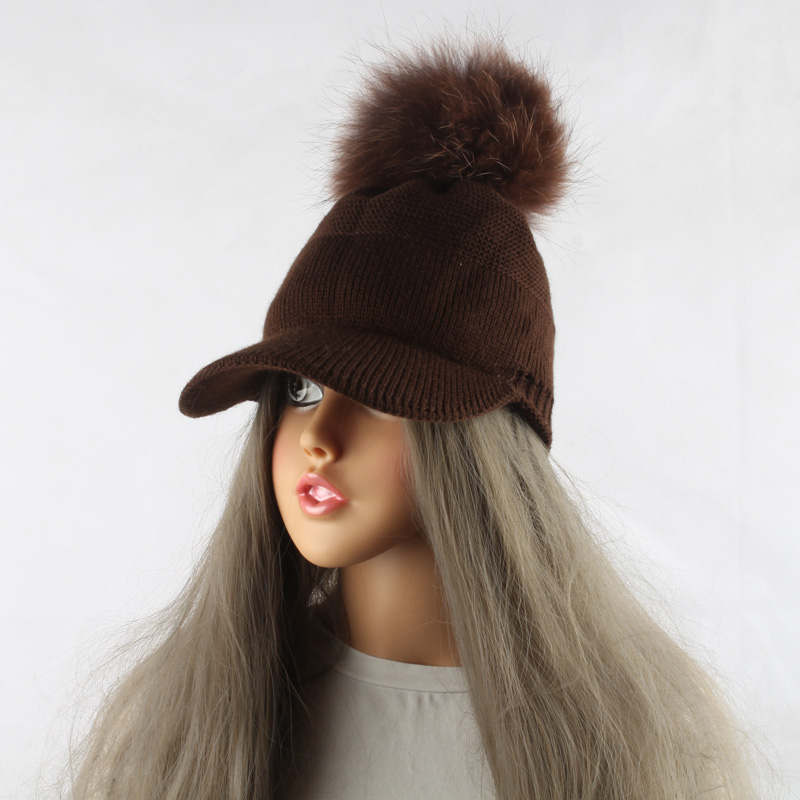FURANDOWN 17 New Real Fur Pom pom Cap For Women Spring Autumn Baseball Cap With Raccoon Fur pompoms Brand Snapback Caps 14