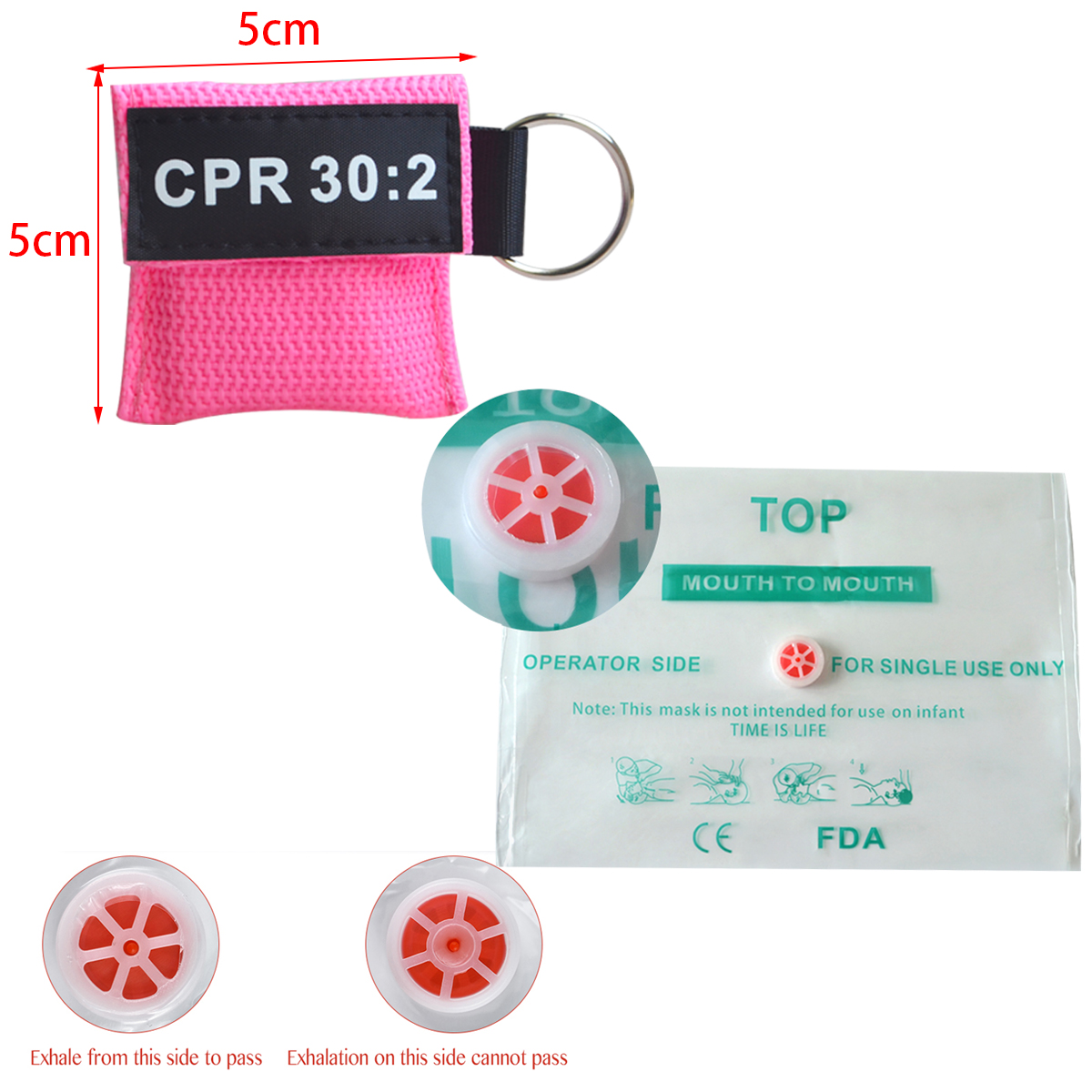 200pcs CPR Resuscitator Mask 30:2 Disposable First Aid Skill Training Face Shield Breathing Mask Mouth Breath One-way Valve Tool
