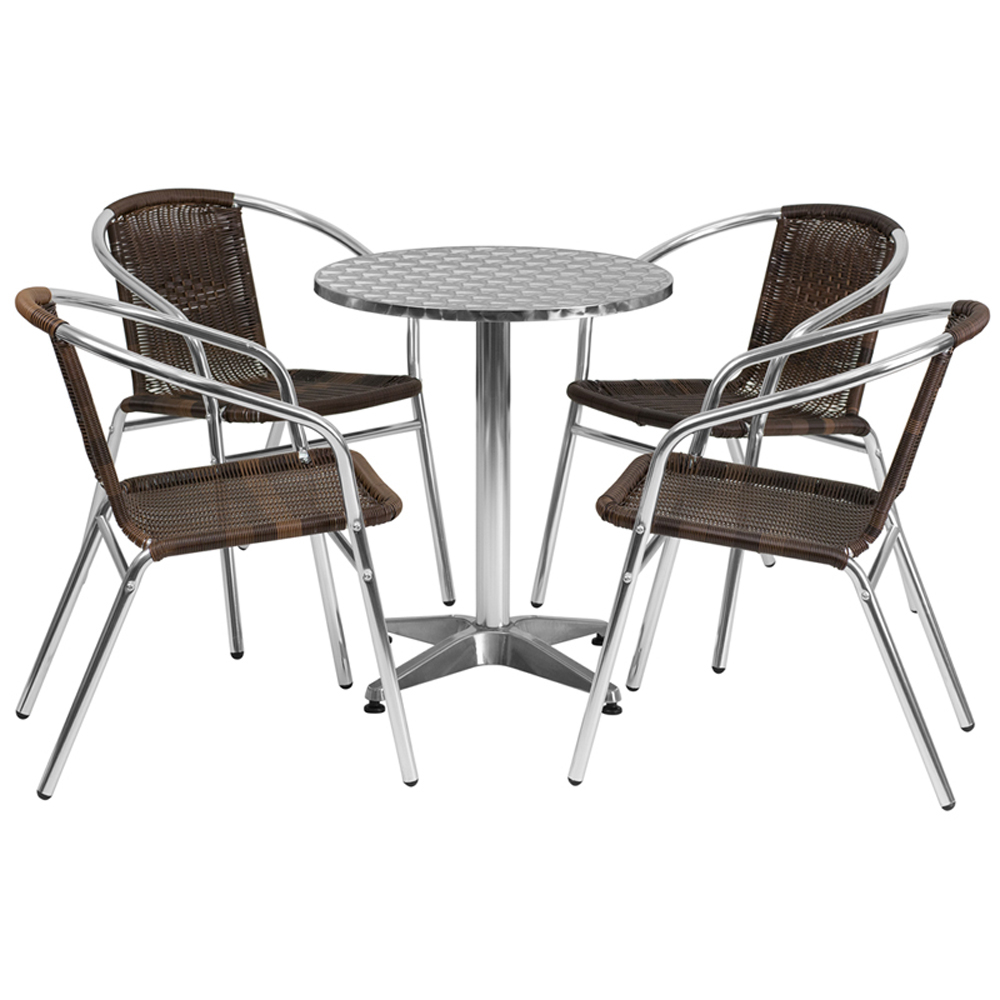 Flash Furniture 23.5 Round Aluminum Indoor-Outdoor Table With 4 Rattan Chairs цена