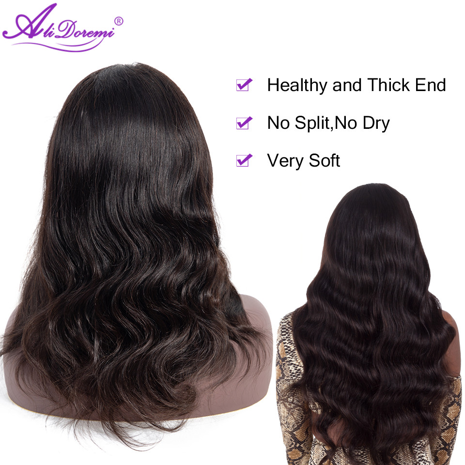 Alidoremi Wig Human-Hair-Wigs Non-Remy-Hair Lace-Front 360 Brazilian Body-Wave Natural-Color title=