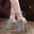 Sandálias de verão saltos tira no tornozelo sapatos de casamento Mulheres stilettos de Salto Alto sapatos de Dedo aberto sandálias de Salto Alto cinza preto X233