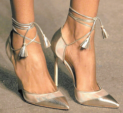 Aliexpress.com : Buy Gold Silver Pointed Toe Women High Heels Lace ...