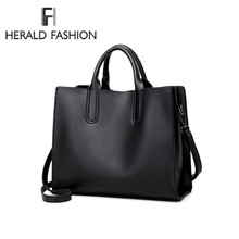 Herald Fashion Women Shoulder Bags Female Handbags Quality Oil Wax Leather Large Capacity Tote Bag Casual Ladies' Messenger bag недорого