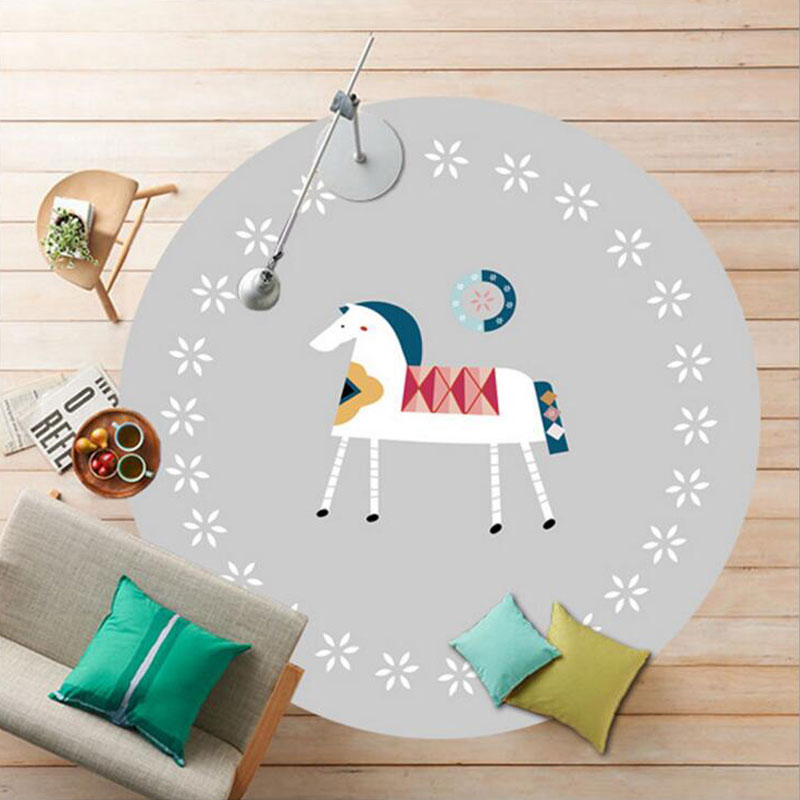 Flannel Velvet 120/160cm Carpet Soft Round CartoonMat For Living Room Computer Chair Mat Rugs and Carpets For Baby Crawling