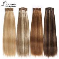 Joedir Hair Double Drawn Brazilian Remy Human Hair Bundles Yaki Straight Hair Weave Color #P6/613 Piano Colors Blonde Bundles