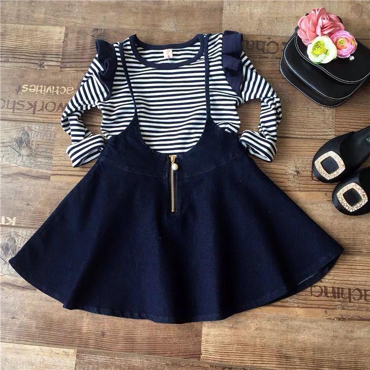 Gadis berpakaian, Bergaris lengan panjang T-shirt + tali Denim rok, 2 pcs set, Penjualan panas pakaian anak-anak, Musim semi 2019 T023