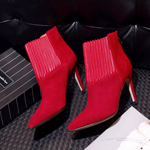 Women's Sexy Thin High Heel Pointed Toe Ankle Boots Genuine Leather Patchwork Genuine Suede Leather Short Booties Shoes Women