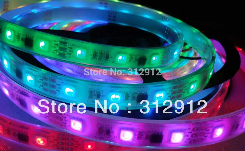 5 m DC12V 48 светодиодов/m 16 шт. ws2811 ic/метр (16 пикселей) светодиодная цифровая полоса, IP68; заполнение эпоксидной смолой в трубке