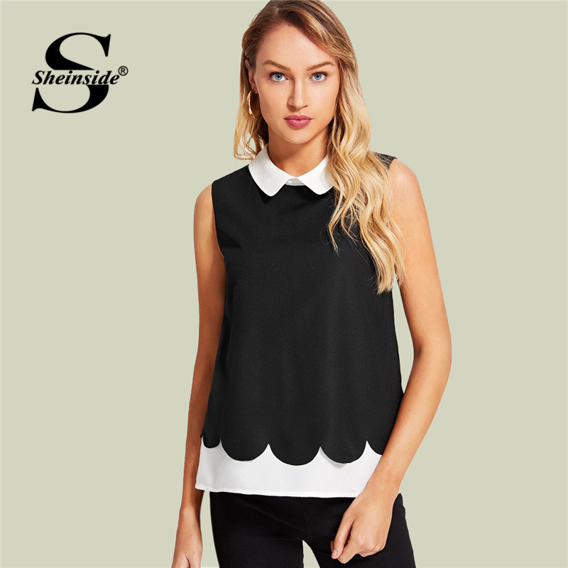 Sheinside Black Contrast Shirt Women Turn Down Collar Sleeveless Colorblock Top 2018 Summer Office Work Blouse