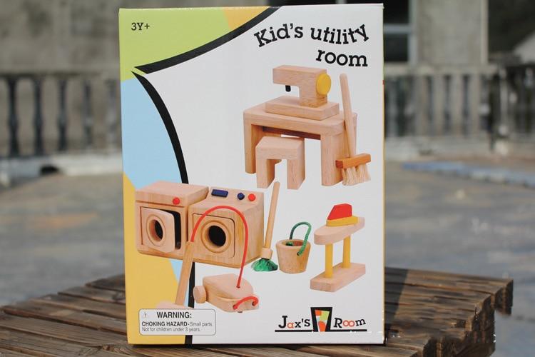 Bebé casa de muñecas de madera juguetes / niños Niño con máquina - Muñecas y accesorios