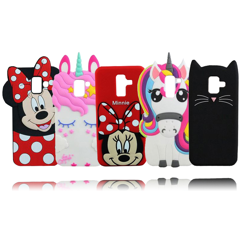 For Samsung Galaxy A6 2018 Case Stitch Unicorn Cat Mickey Minnie Silicone Cell Phone Cover Case For Samsung A6 Plus 2018 Сотовый телефон