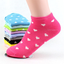 5 pairs 2016 New women's sock cute love heart Casual spring summer Cozy cotton women short socks hosiery for girl