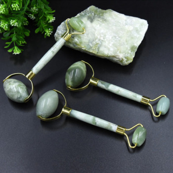 Natural Green Jade Roller Double Head Stone Roller Real Jade Massager Anti Cellulite Facial Lift Massage Tool Face Thin Slimmer 2