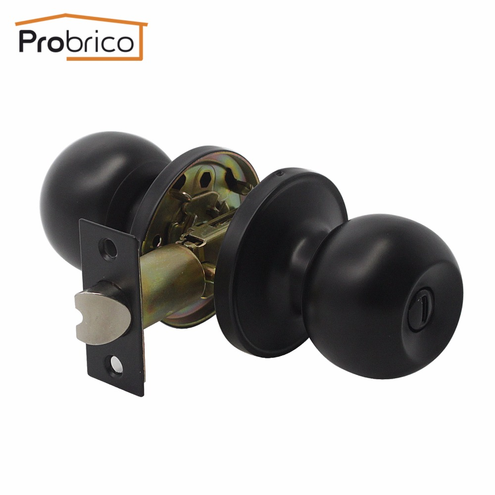 Probrico Interior Door Handle Bedroom Door Knob Black Keyless Privacy Door Lock Durable Bathroom Door Handle With Lock Cylinder