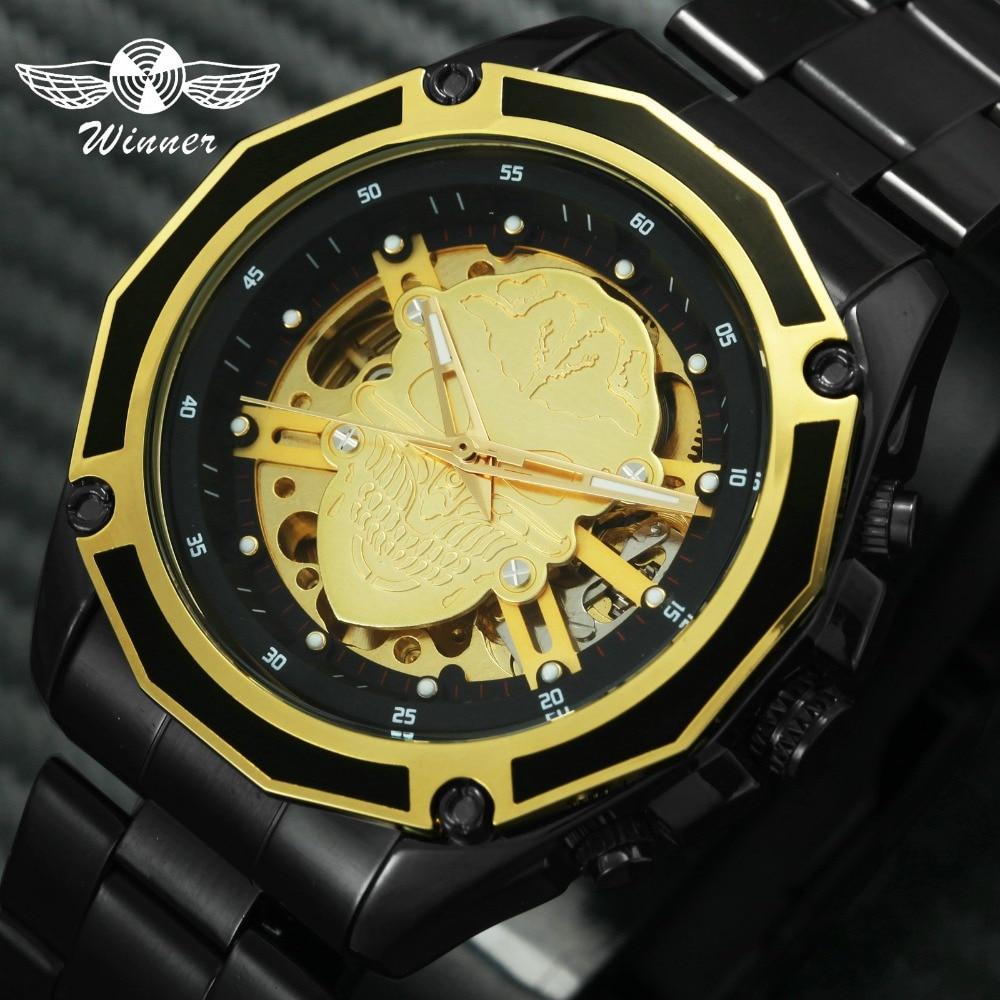 Ganador bien INS moda mecánica reloj de los hombres de 2019 cráneo esqueleto de oro negro superior de la marca de lujo de Forsining pulsera W/ caja