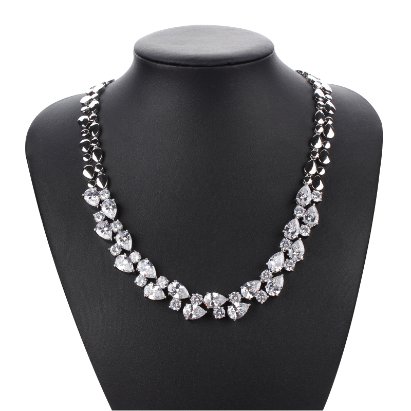 WEIMANJINGDIAN Large Marquise Cut Colored Cubic Zirconia Stones Necklace And Earrings Set For Women Bride Or Bridemaid