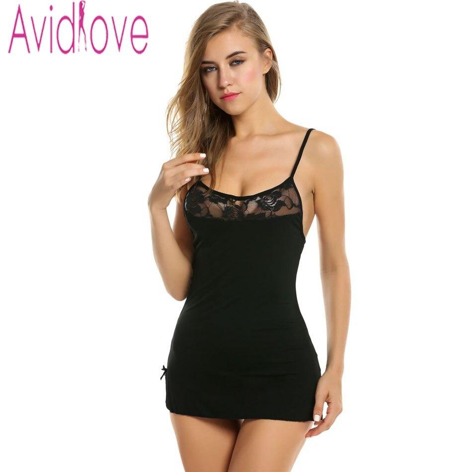 Avidlove Women Sexy Lace Nightgown Cotton Nightdress Stretch Mini Dress Sleepwear Sexy Lingerie Plus Size Nightwear for Women 1