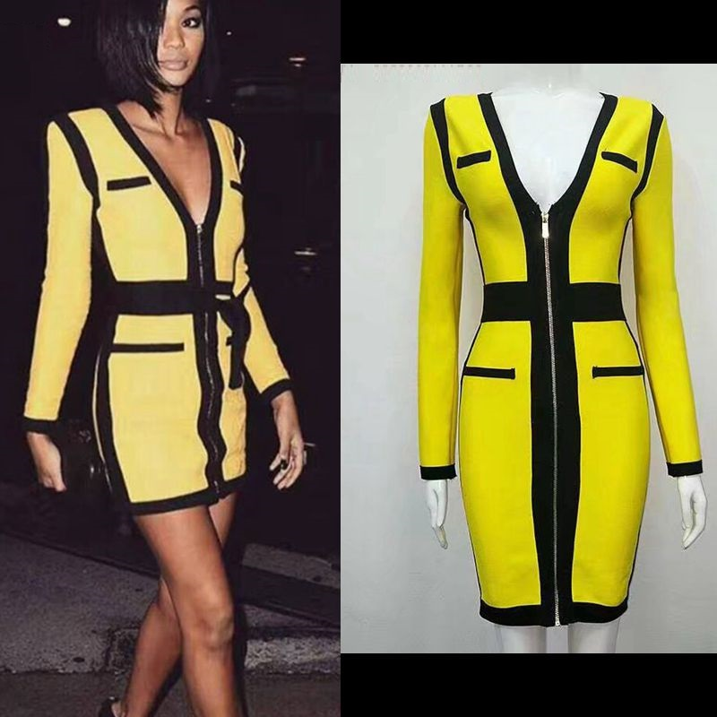 yellow long sleeve 2017 autumn new arrival bandage dress summer vestido celebrity runway geometric gown cocktail party dresses