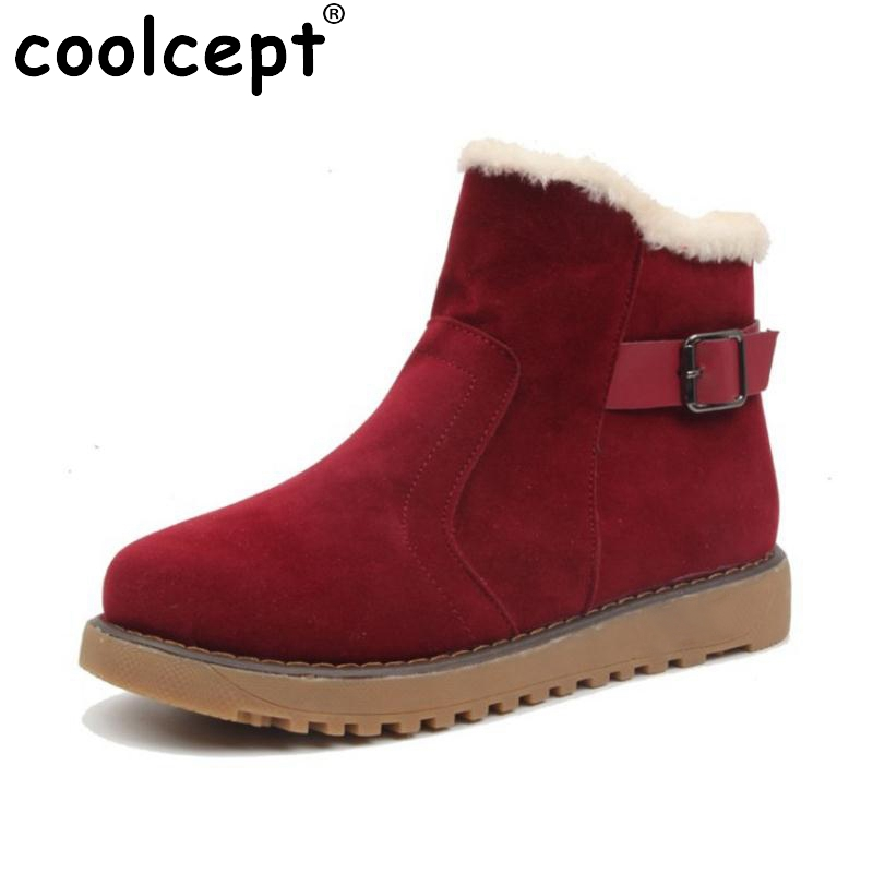 Coolcept Winter Shoes Women Thick Fur Inside Ankle Snow Boots For Women Warm Plush Flat Boots Female Winter Botas Size 35-39