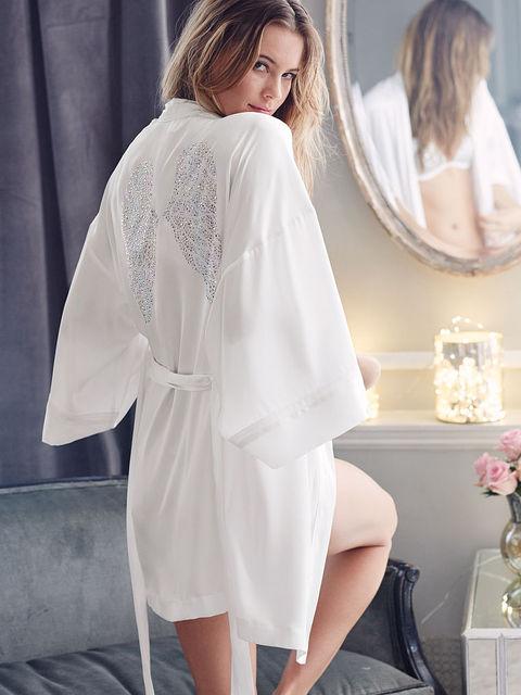 Las mujeres de Seda Albornoz Sleeprobe Alas Blanco Diamante Caliente De Novia Bridemaid Wedding Party ropa de Dormir Bata Kimono Japonés