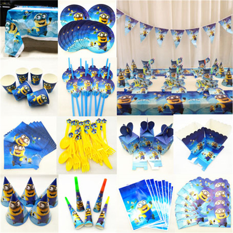 Birthday party decorations minions Tablecloth Cup Plate Straw Napkin Cap Gift Candy Popcorn Box Card birthday minions supplies