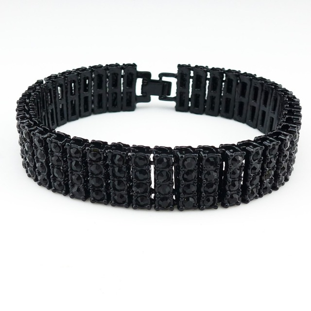 Men Simulated 4 Row Black Diamond Iced Out Tennis Bracelet Hiphop 8 5 Inches