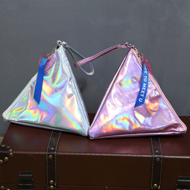 Bentoy Shining Leather Women's Handbag Personality Triangle Purse Hologram Clutch Evening Bag Fashion Wristlets Ladies Purse 6