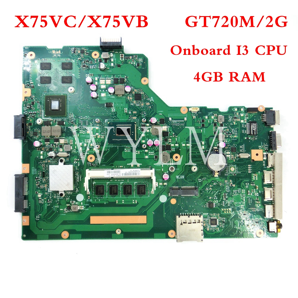 X75VC Onboard I3 CPU With 4GB RAM GT720M/2G mainboard For ASUS X75V X75VB X75VD X75VCP Laptop motherboard 100% Tested Working aic ap 1101 black
