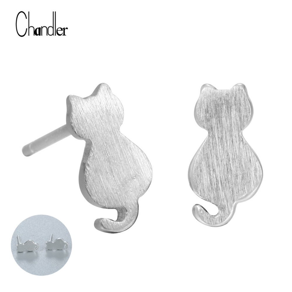 New Fashion 925 Sterling Silver Small Cat Stud Earrings For Women Girl Meow  Star People Lovely