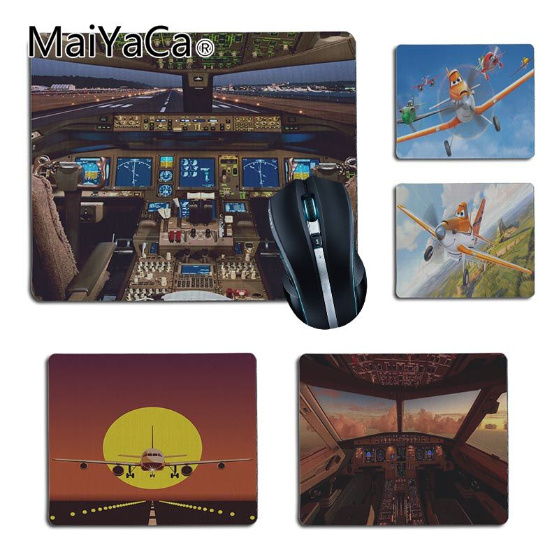 MaiYaCa Hot Sales  Airbus Cockpit Printed Gamer Speed Mice Retail Small Rubber Mousepad Size For25X29cm 18x22cm Gaming Mousepads