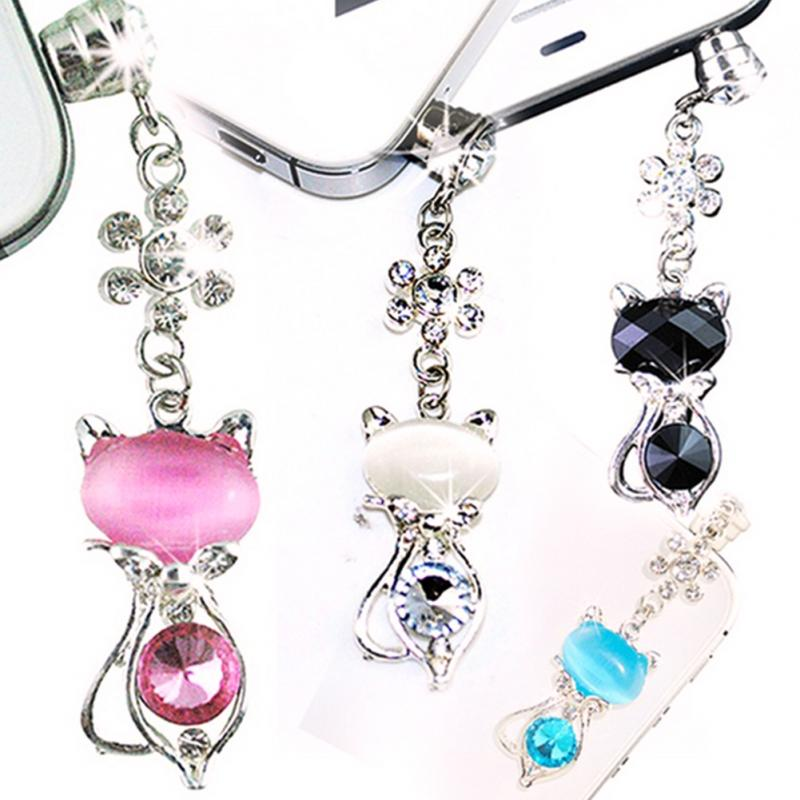 Rhinestone Cat Anti-dust 3.5mm earphone Dust Plug For Iphone For Samsung And Universal Mobile Dustproof phone plug accessories
