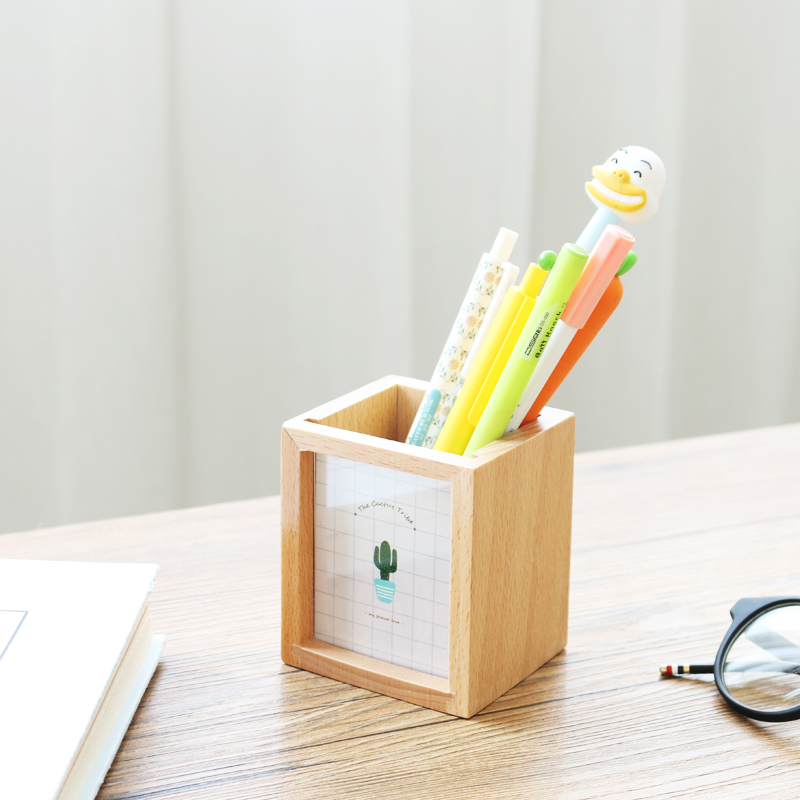 JIANWU Succulent plants Wooden pen container Multifunctional photo frame pen insertion kawaii 2