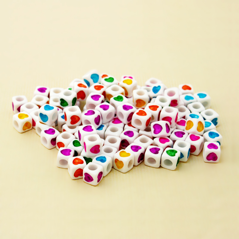 Rapture 100pcs/lot 7x7mm Cube Shape Big Hole White Beads With Assorted Neon Colour Love Heart Pattern Loose Acrylic Diy Craft Jewelry & Accessories Beads & Jewelry Making
