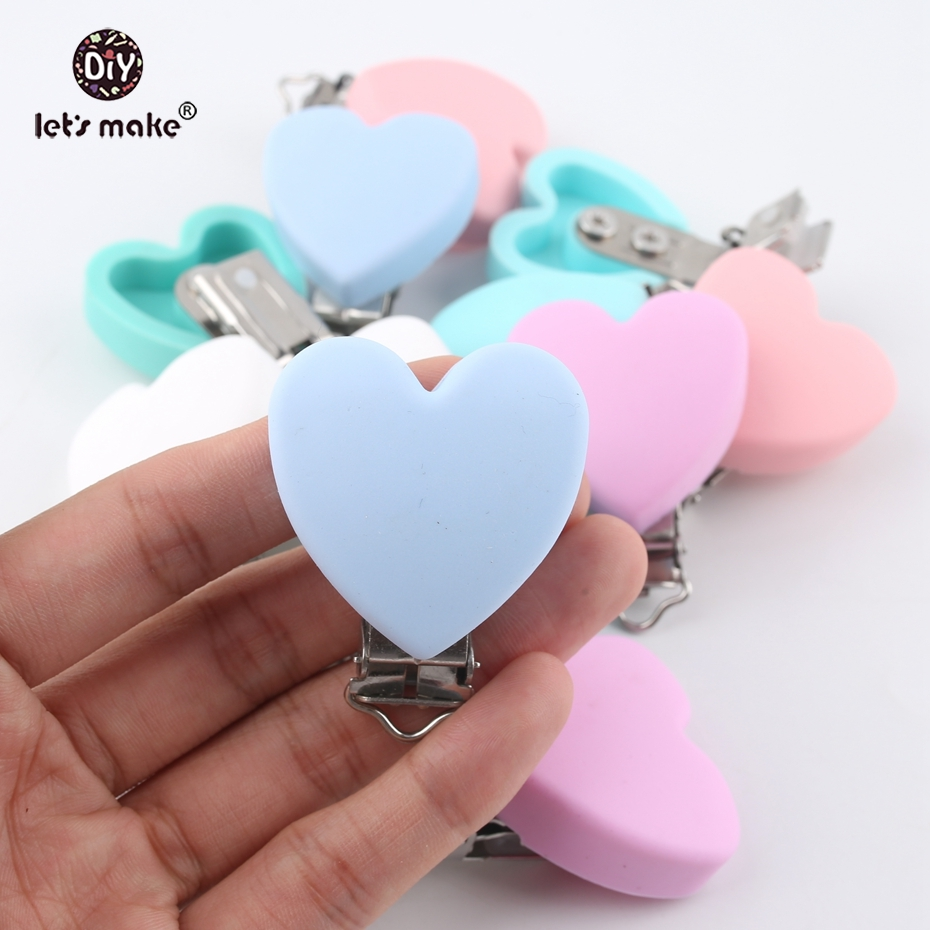 Let's make Baby Teether Pacifier Silicone Heart Clip Ecofriendly 20pc Crafts Dummy Clips Adapters Attachments Silicone Teether