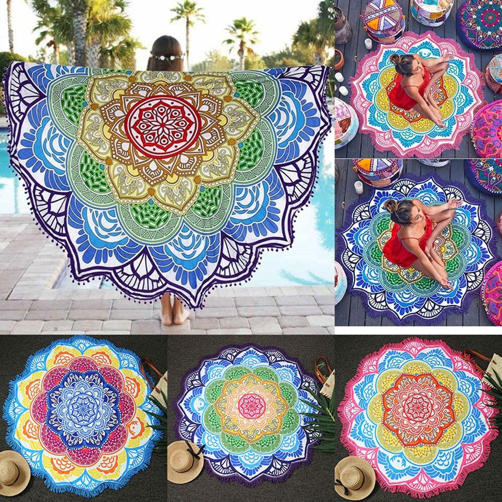 Mandala Strand Handtuch Indische Große Lotus Druck Yoga-Matte Runden Quaste Tapisserie Totem Decke Hippie Boho Tischdecke 150 cm/59''