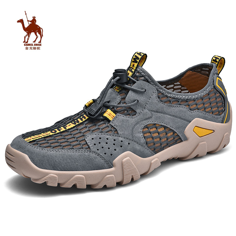 CAMEL JINGE 2019 New Outdoor Shoes Trekking Summer Size 45 Colors Slip on Beach Waterproof Leather Utility Hiking Shoes for Men in Hiking Shoes from Sports Entertainment
