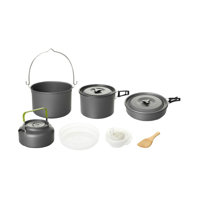 5-8 Persons Outdoor Camping Non-stick Cooking Set Teapot Coffee Kettle Hanging Pot Cookware Pots Pans
