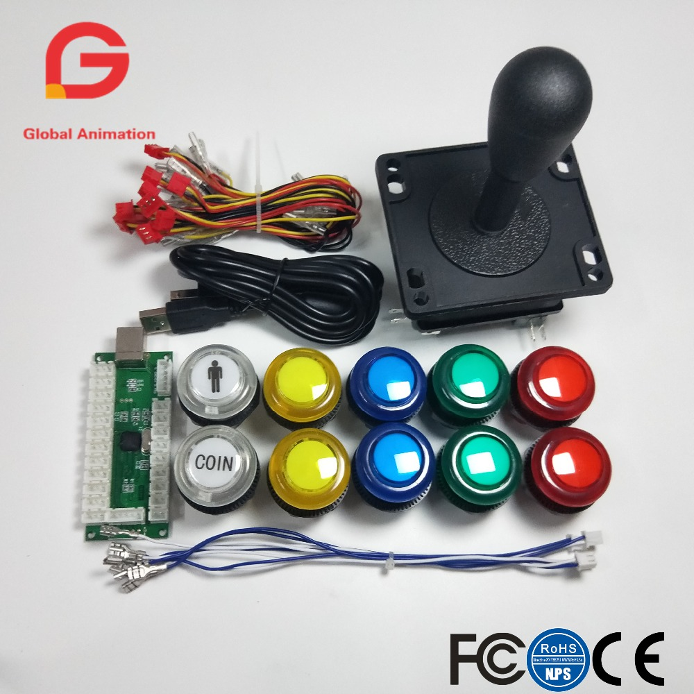 Arcade DIY Kit Parts USB Controller To PC 8 Ways Stick Control+LED Light Push Buttons For Video Game Consoles Mame Raspberry Pi