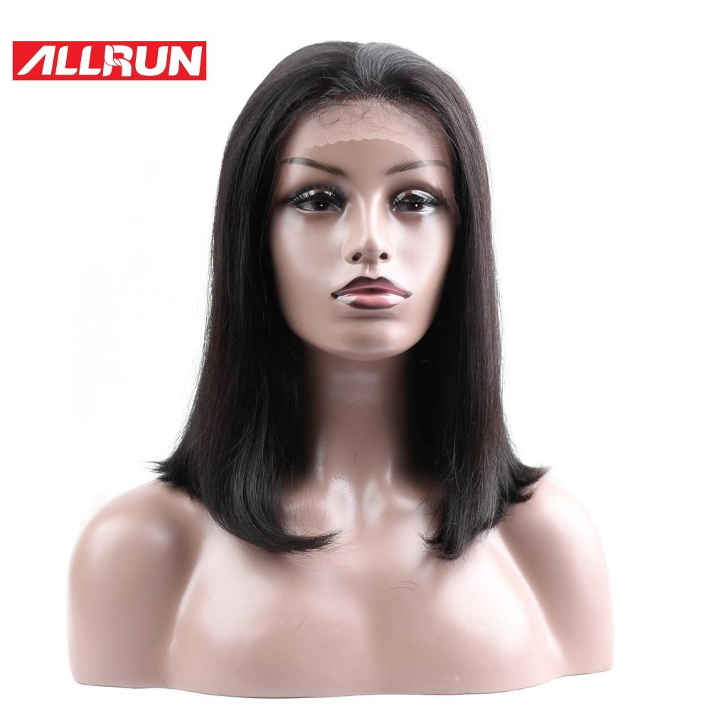 ALLRUN Brazilian Lace Frontal Parycker Bob 130% Density Mänskligt - Mänskligt hår (svart)